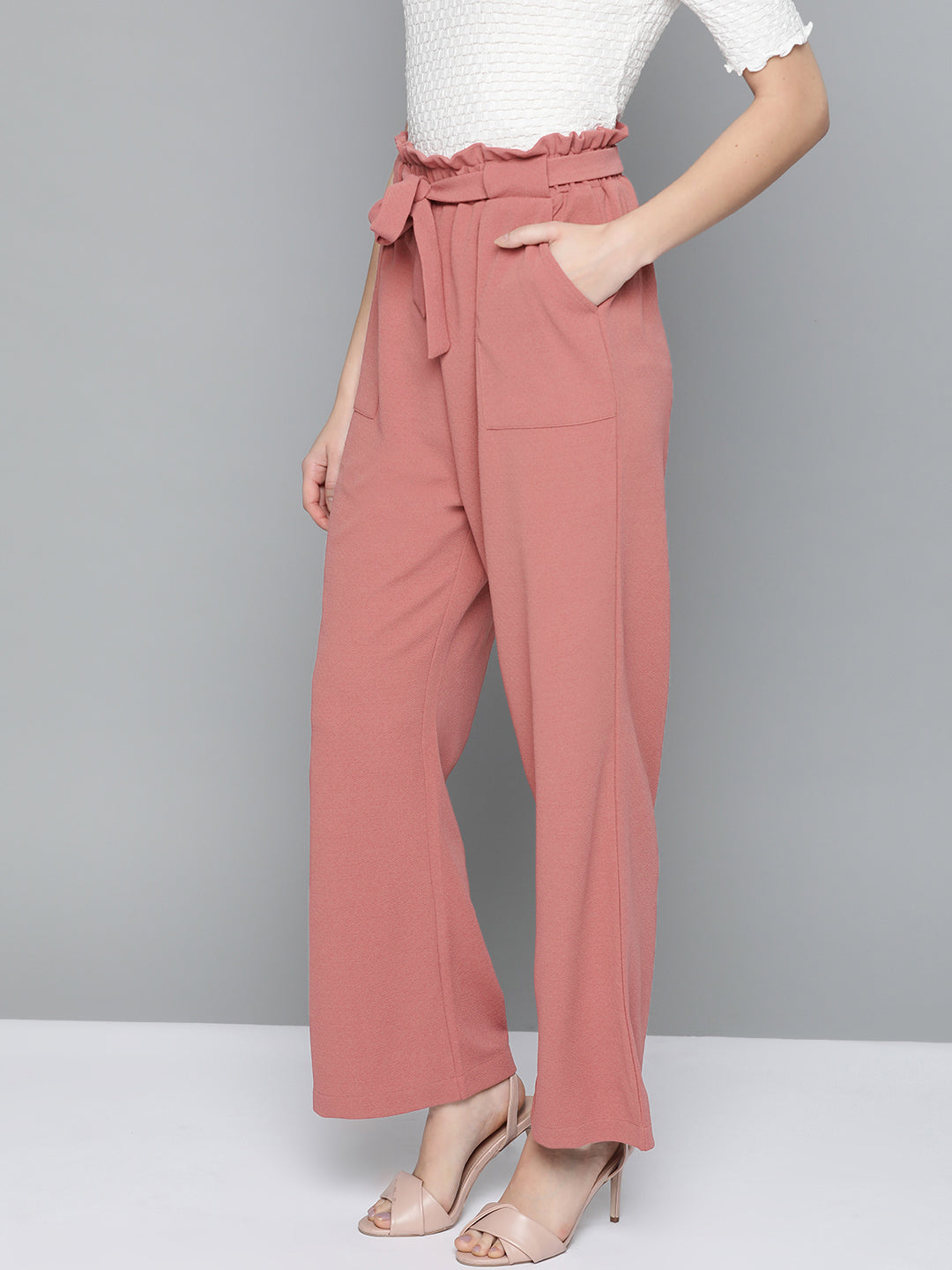 Solid Dusty Pink Paperbag Pants