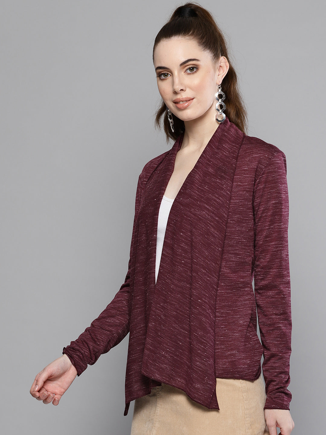 Women Burgundy Shrug