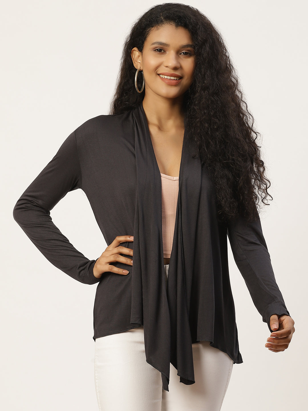 Women Solid Charcoal Shrug