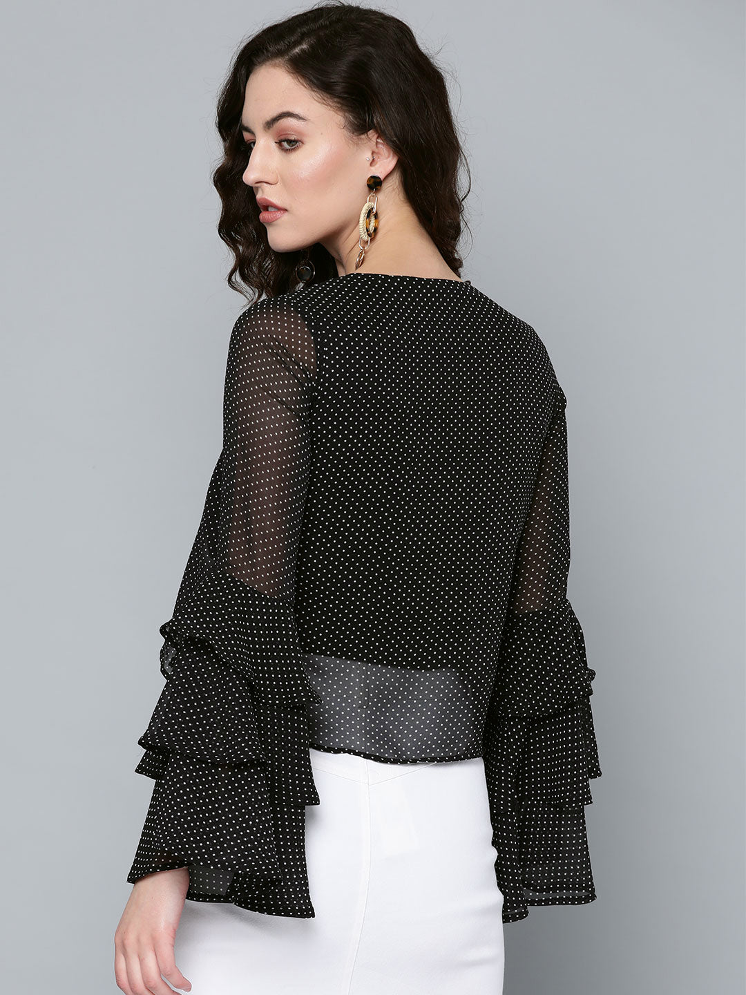 Black Polka Shrug