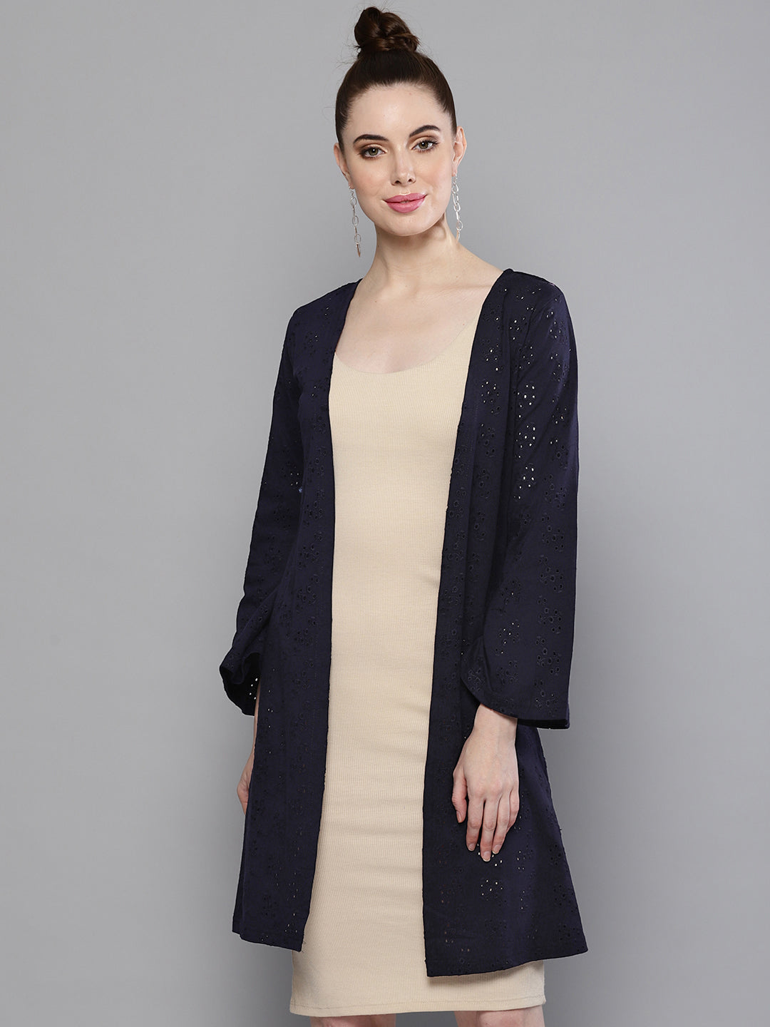 Blue Shifley Bell Sleeves Shrug