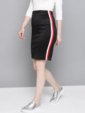 Side Striped Black Skirt