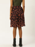 Floral print pleated skirt