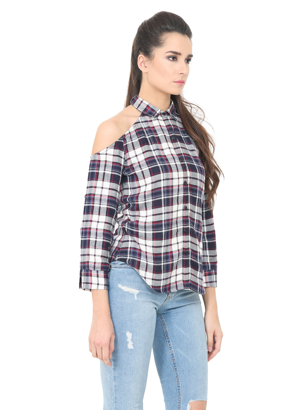 Cold Shoulder Checker Shirt