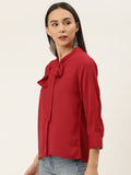 Red Front Knot Shirt