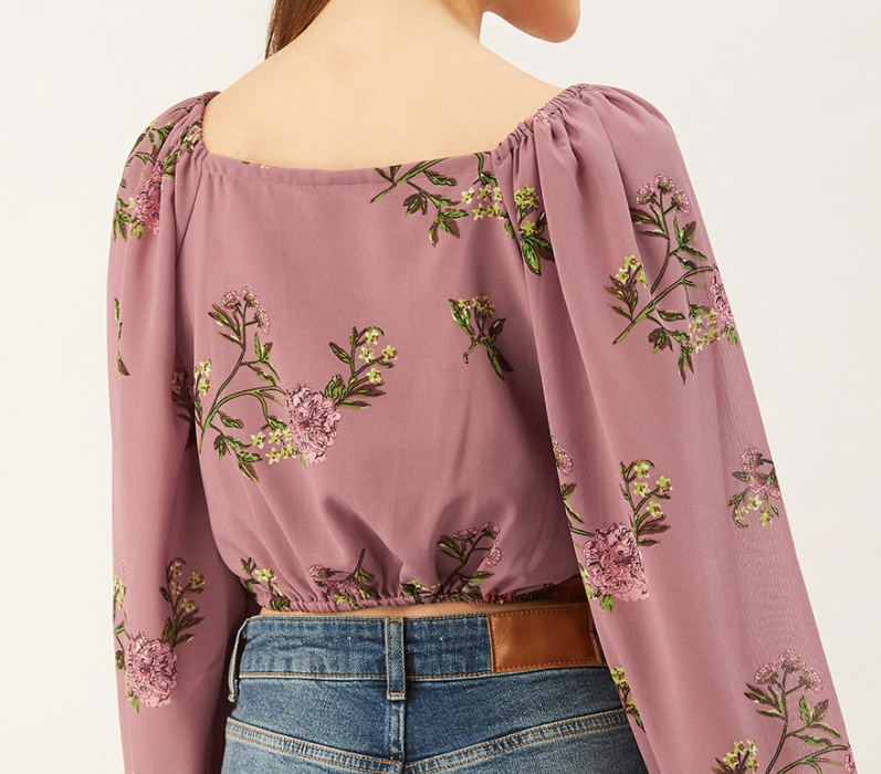 Ruched Printed Top