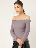 Mauve Ruffled Off Shoulder Top