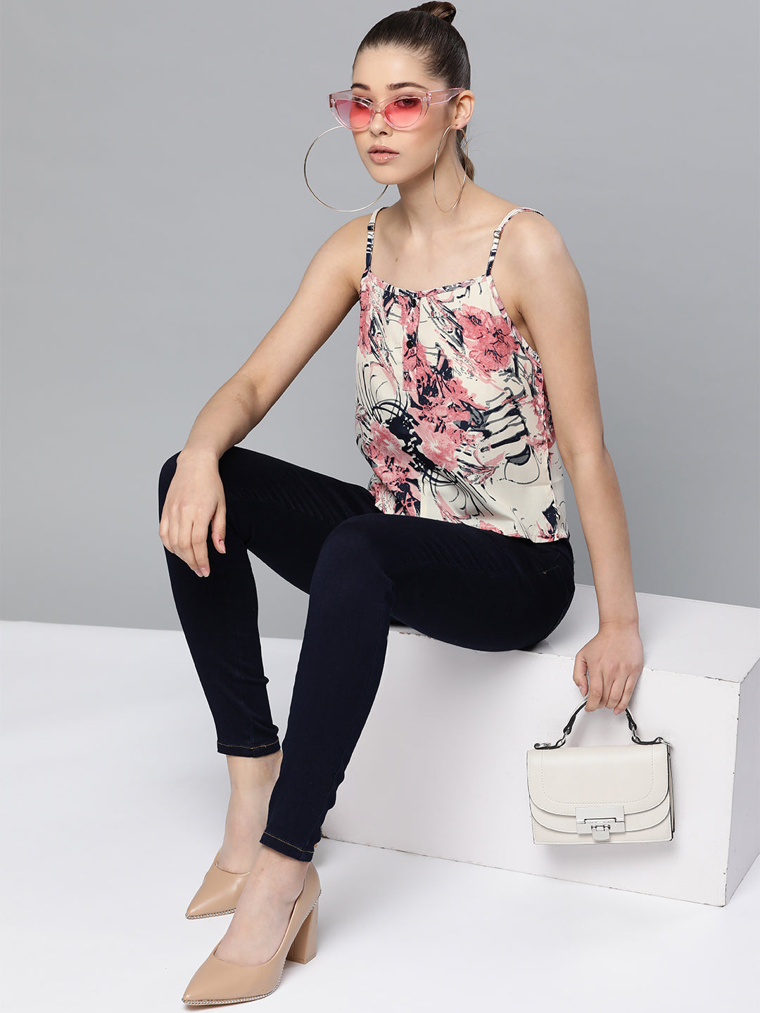Off White Floral Cami Top