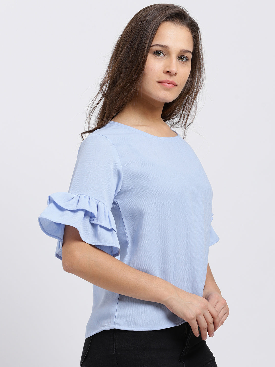 Short Bell Sleeves Solid Top