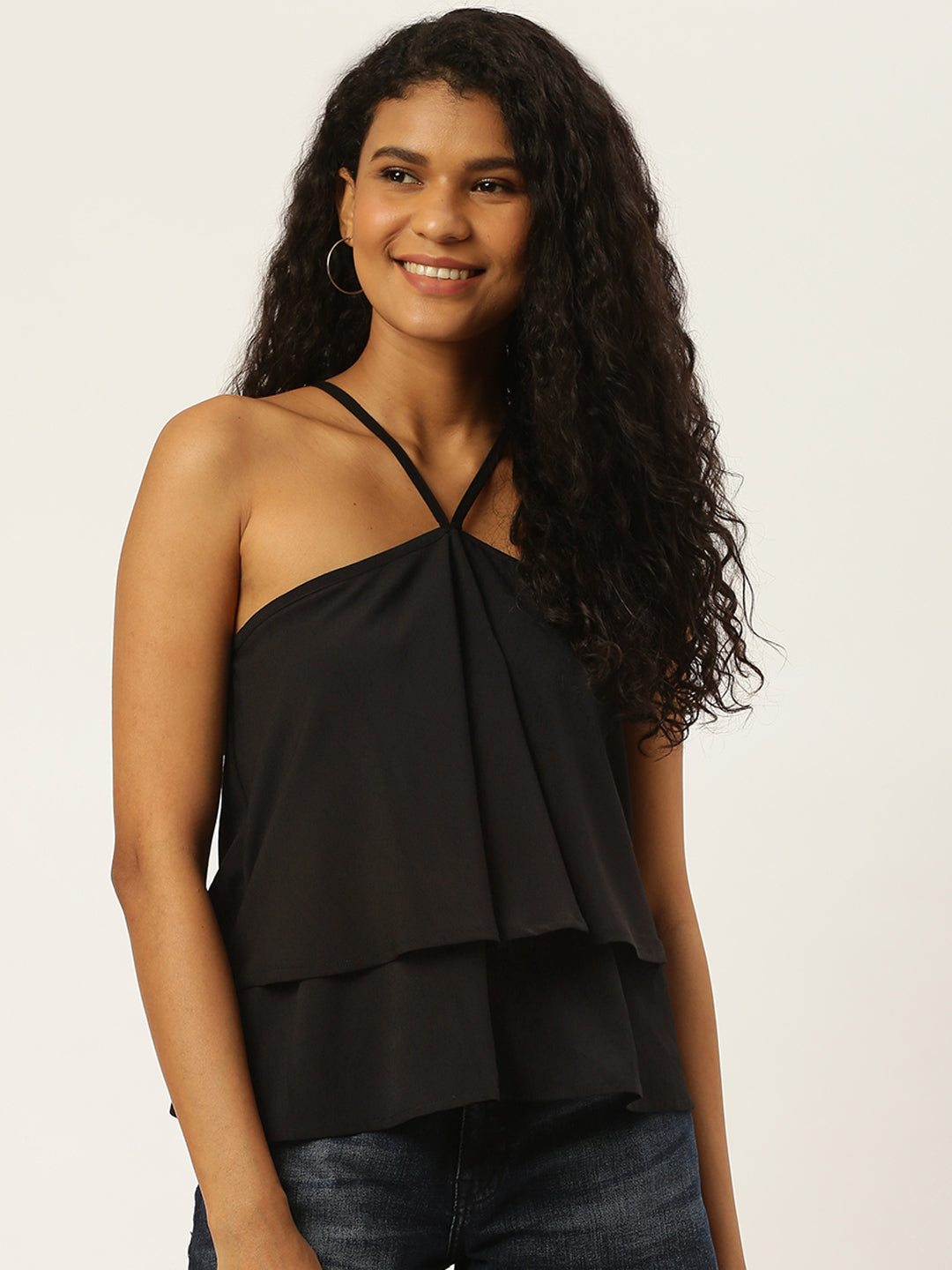 Solid Black Layered Halter Neck Top