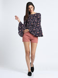 Floral Bell Sleeves Short Top