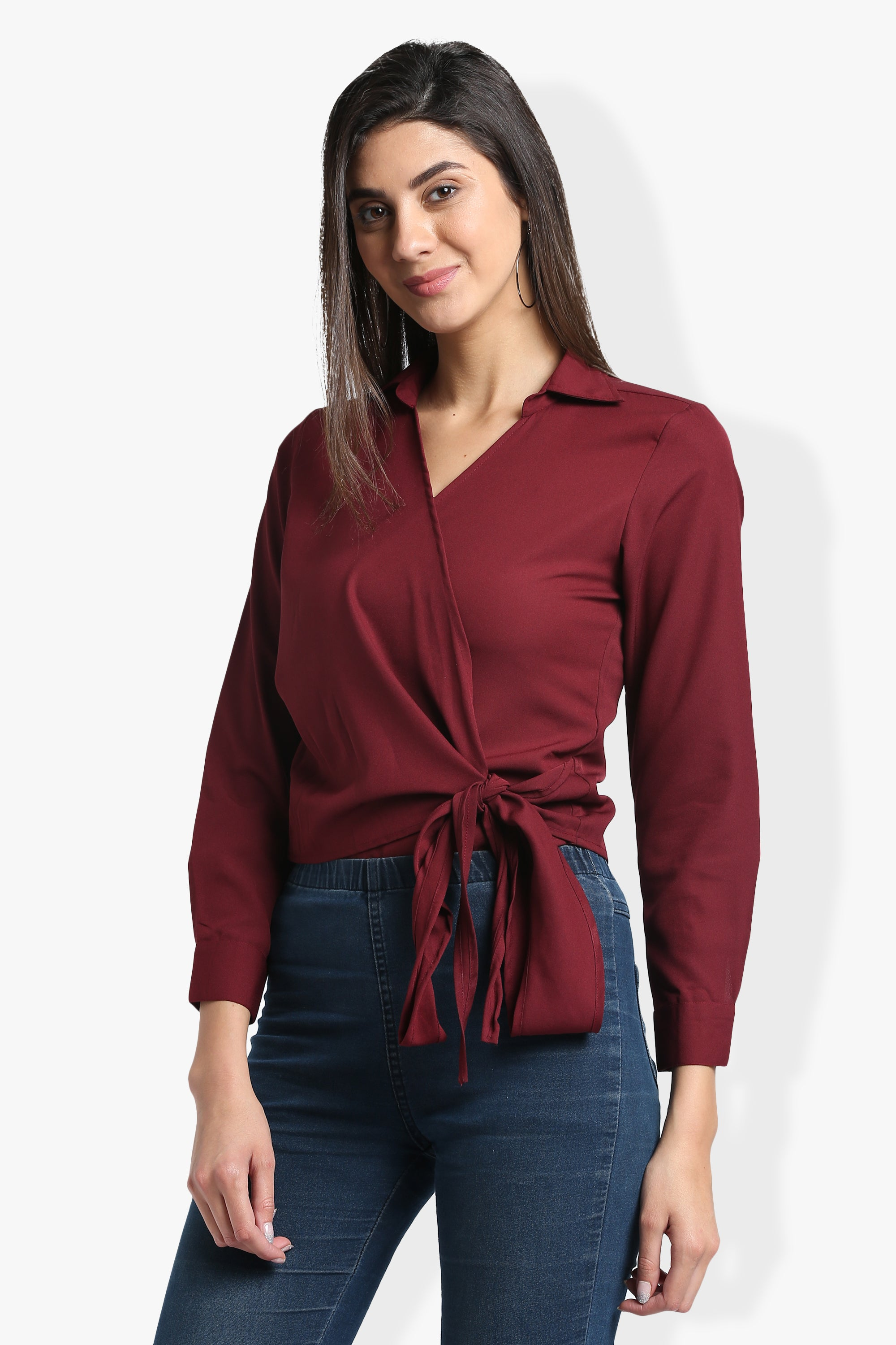 Solid Maroon Knot Top