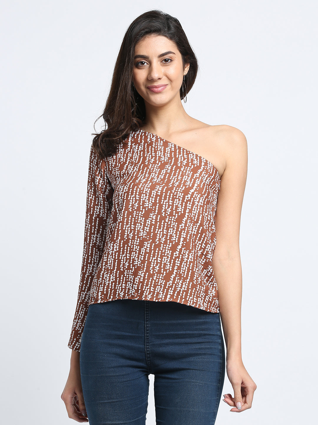 One Shoulder Brown Top