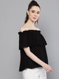 solid Black Off Shoulder Top