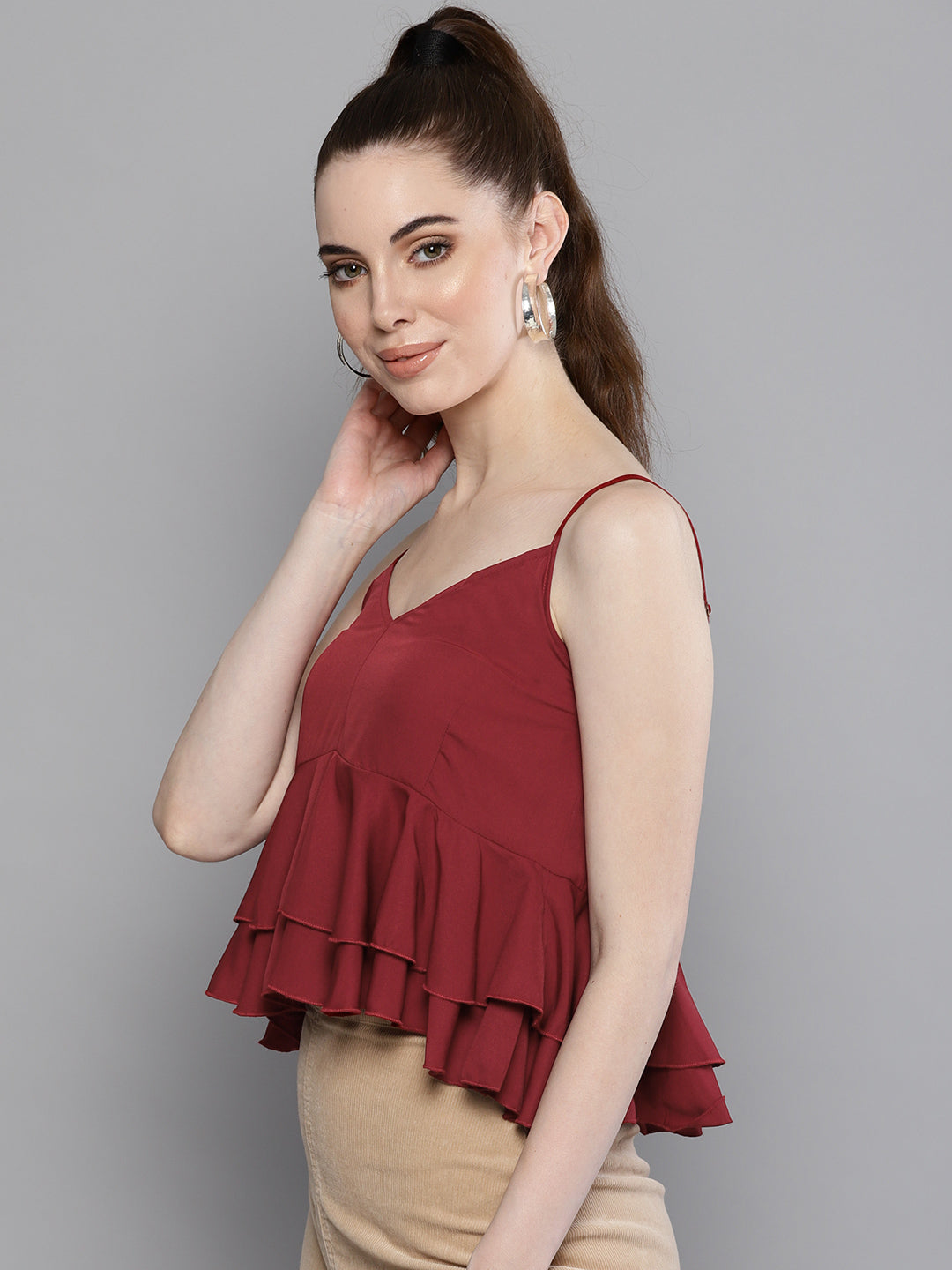 Solid Maroon Lush Top