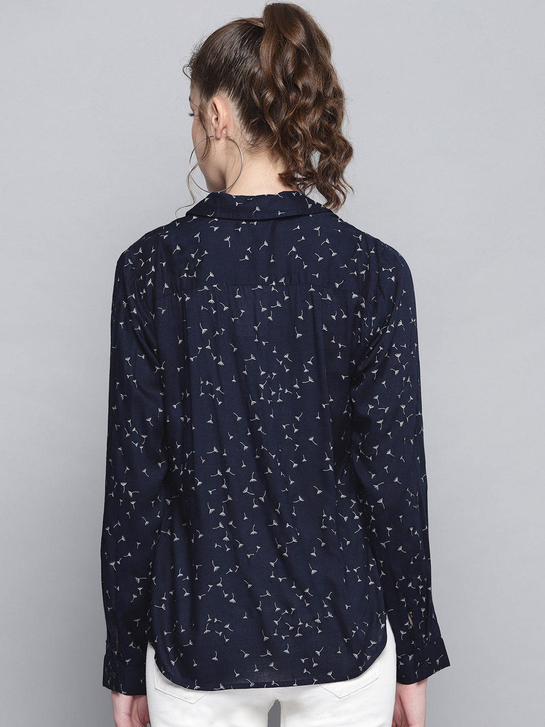 Printed Blue Half Placket Top