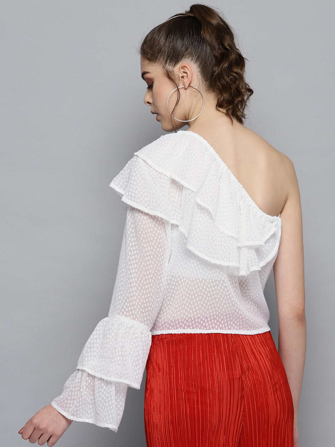 White Doby Ruffle Top