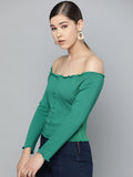 Cabbage Finish Off Shoulder Top