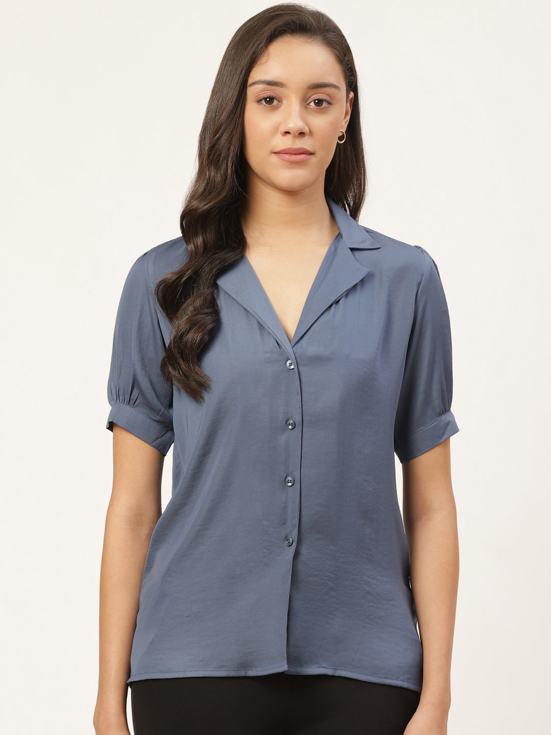 Premium Solid Button Front Top