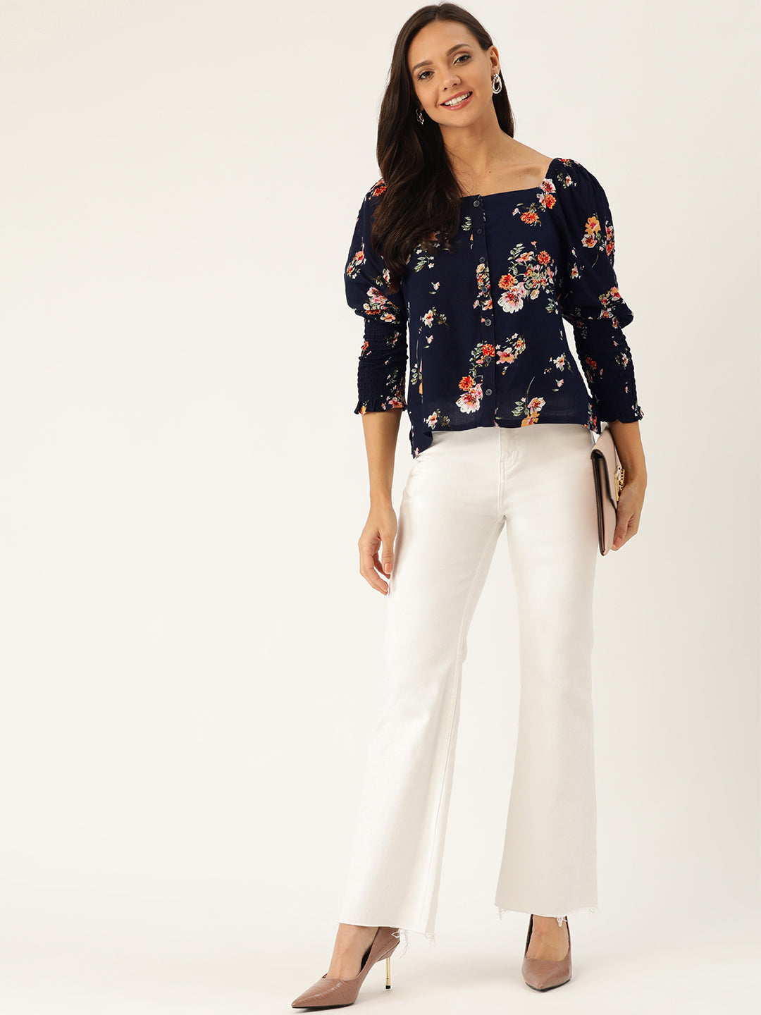 Square Neck Floral Top
