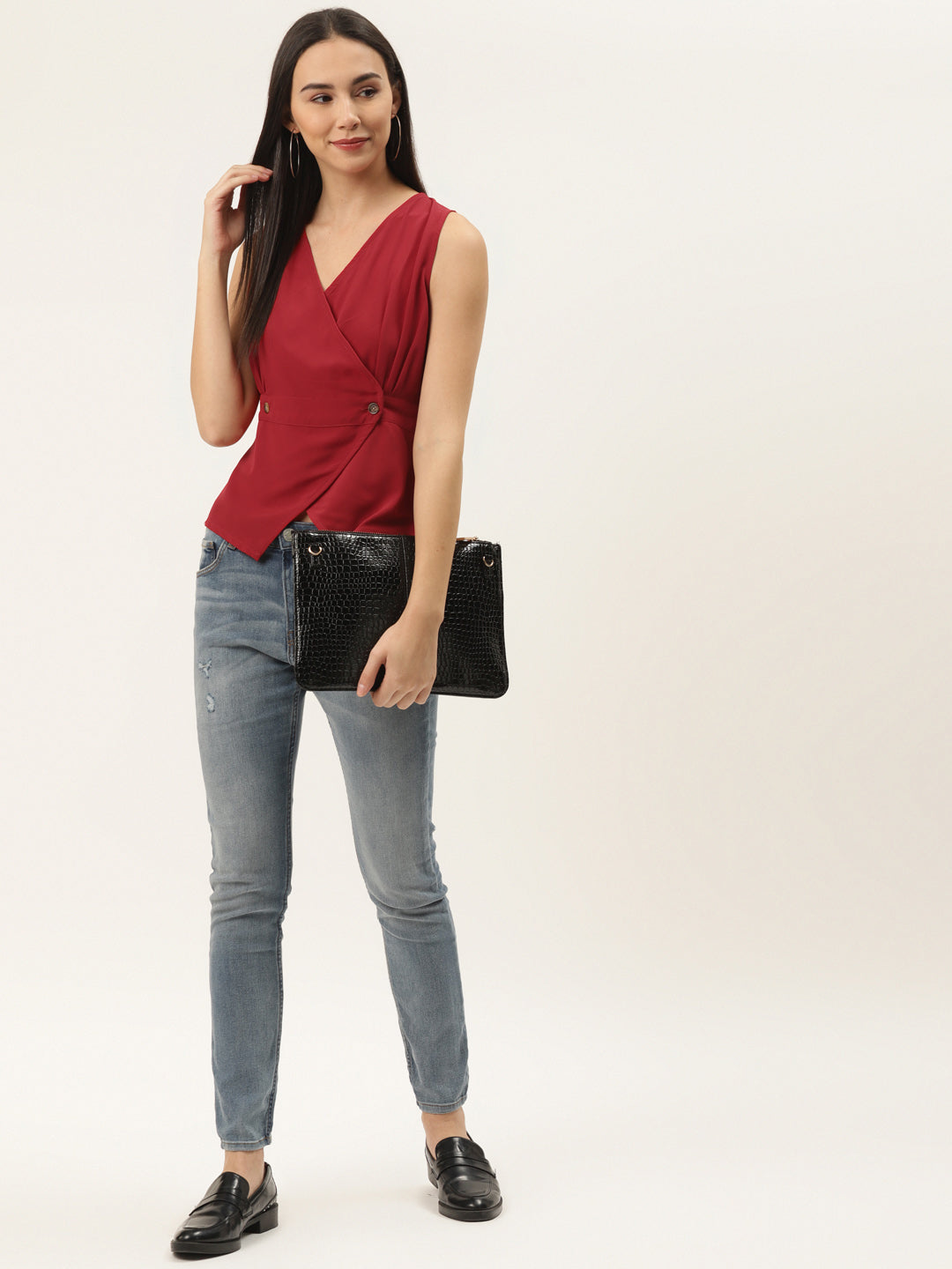 Red cinched waist top