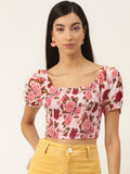 Light Pink Floral Smocking Crop Top