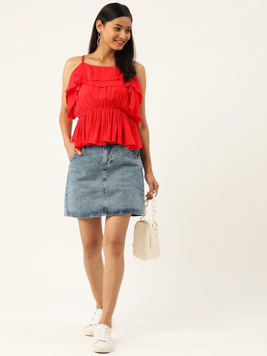 Red Peplum Party Top