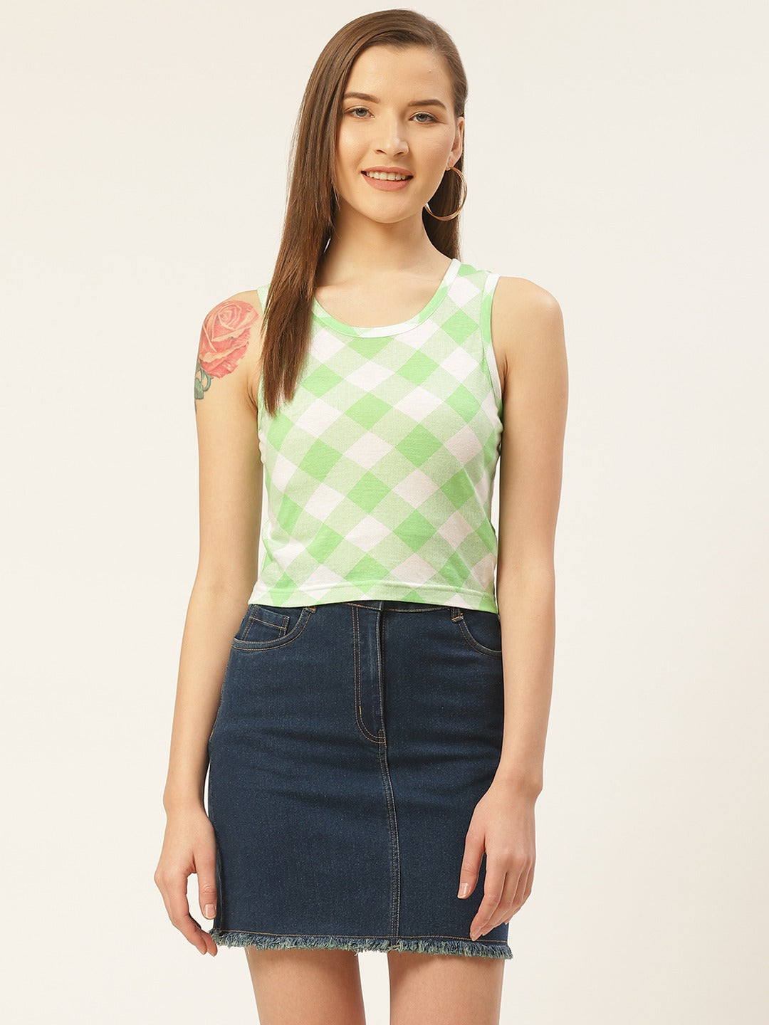 Green Check Crop Top
