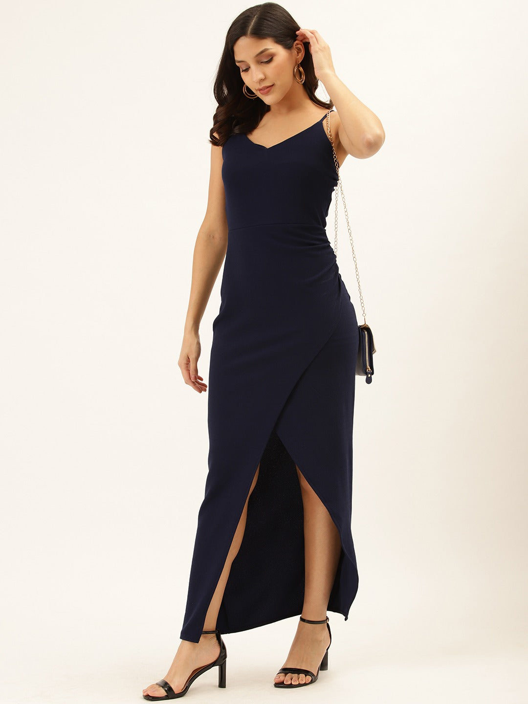 Navy Split Thigh Dress