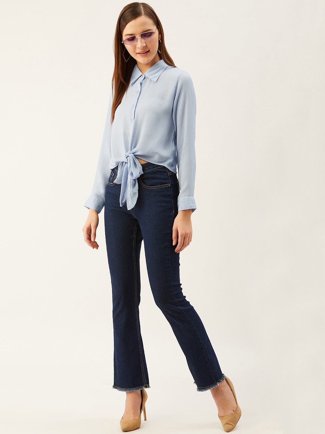 Blue Front knot Shirt