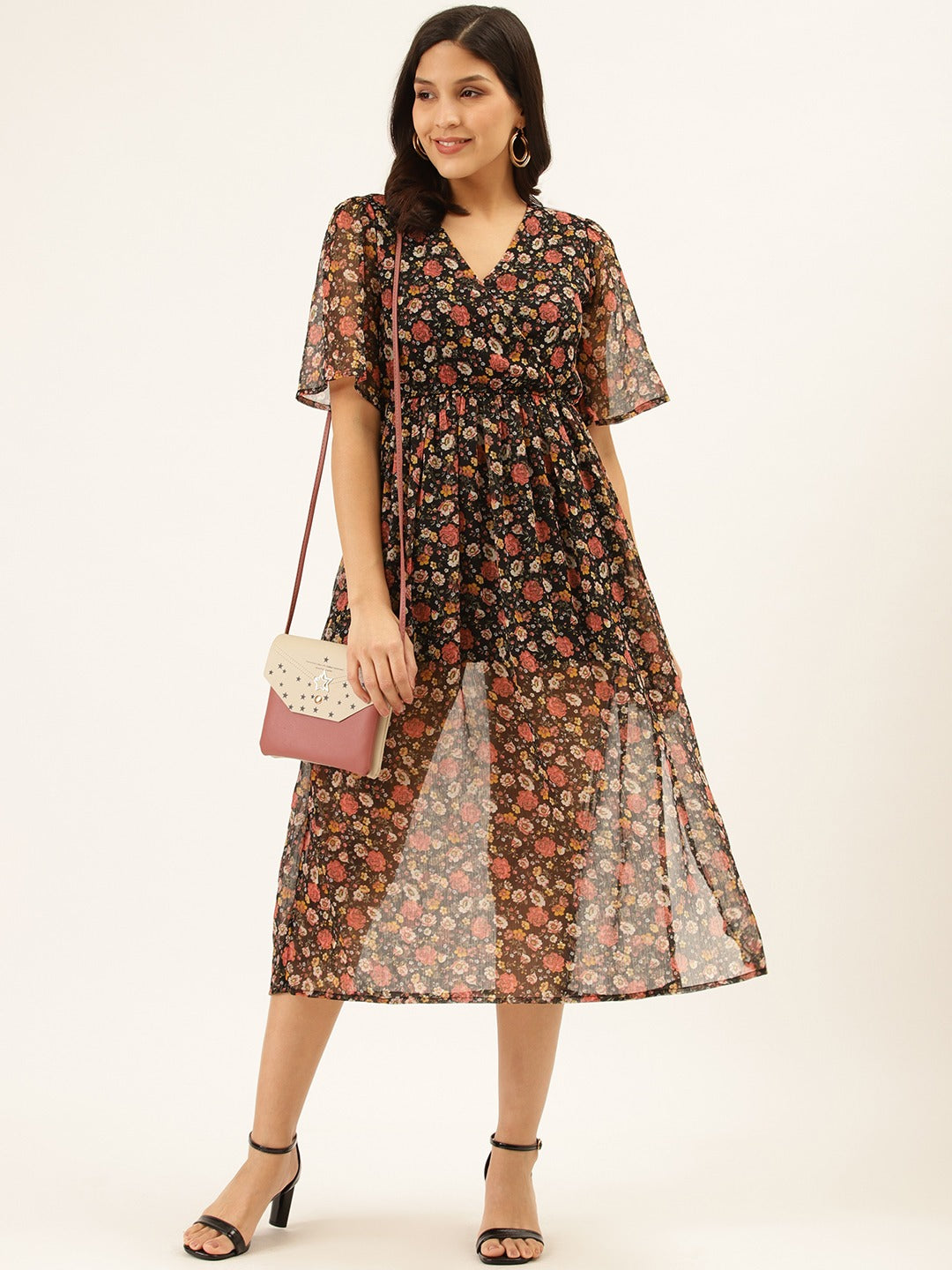 Printed Calf Lenth Dress