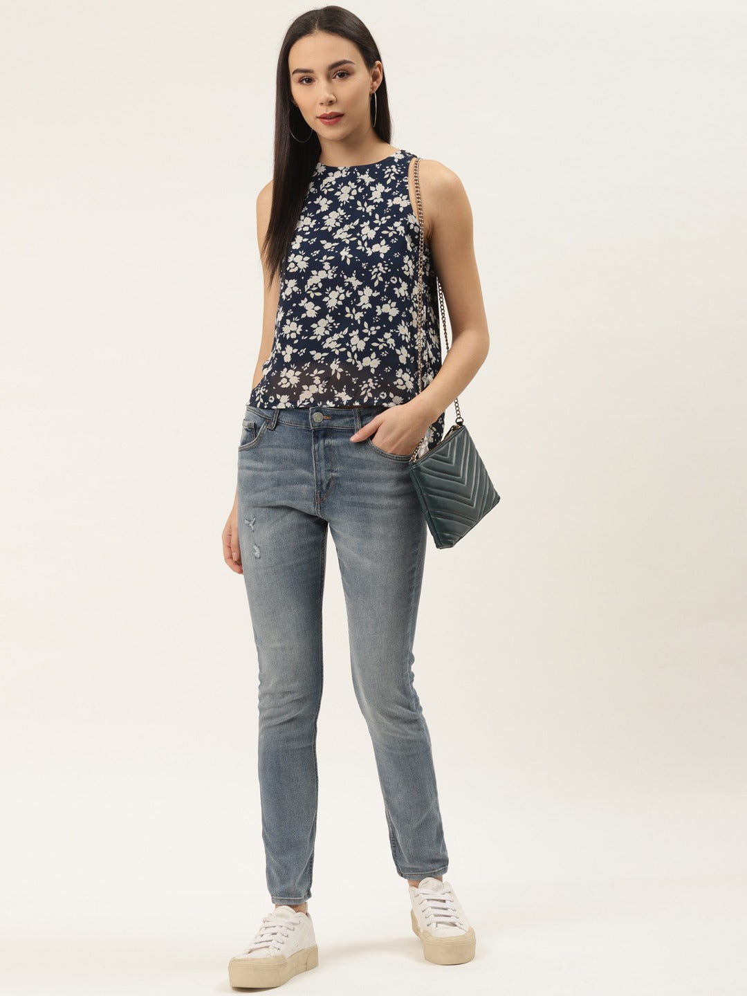High Low Floral Top