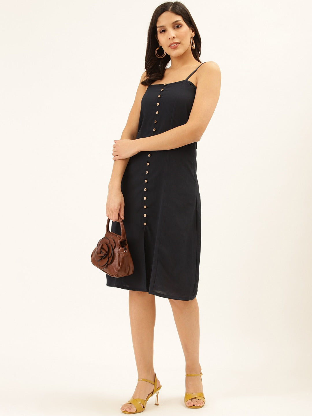 Essential Solid Navy Buttoned Dress