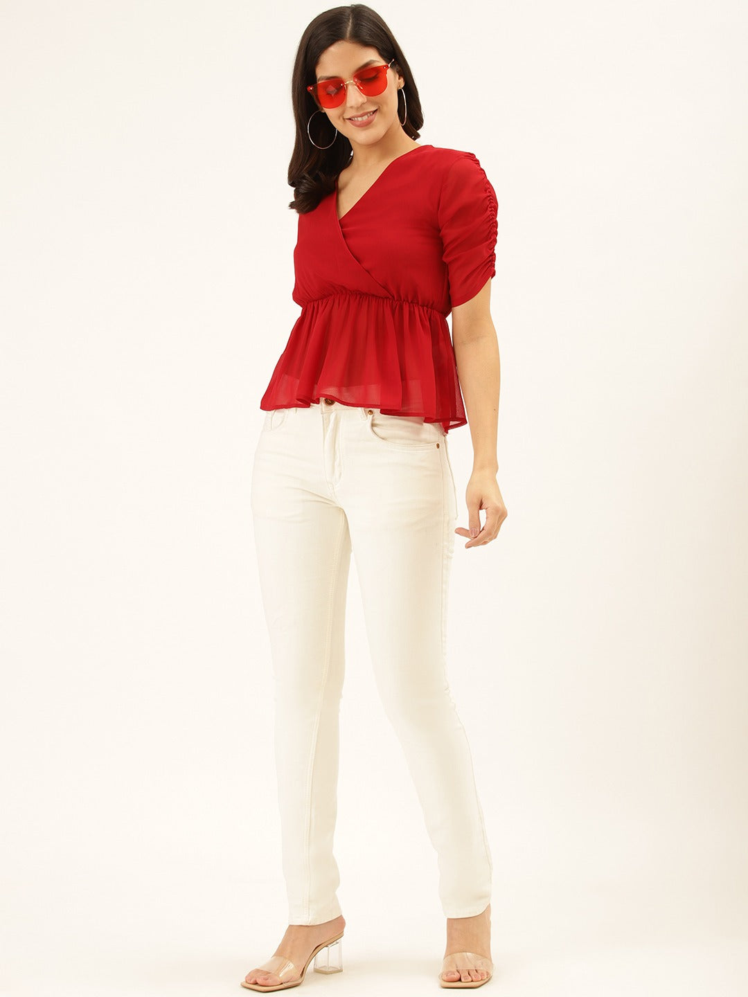 Solid Red Peplum Top