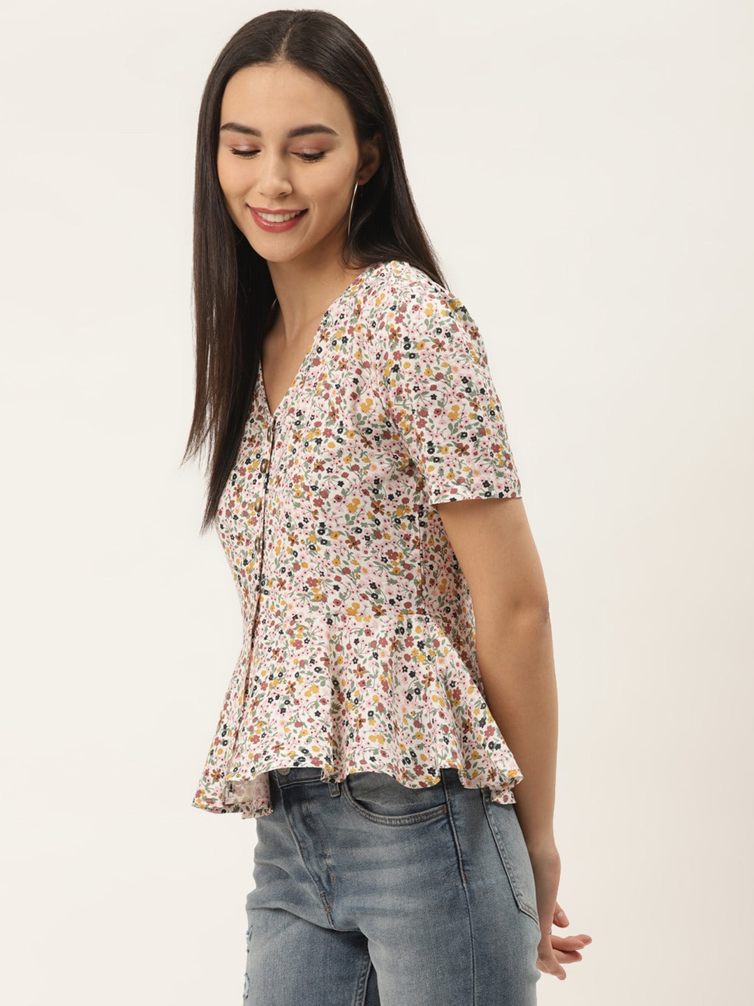 Front Button Floral Peplum Top