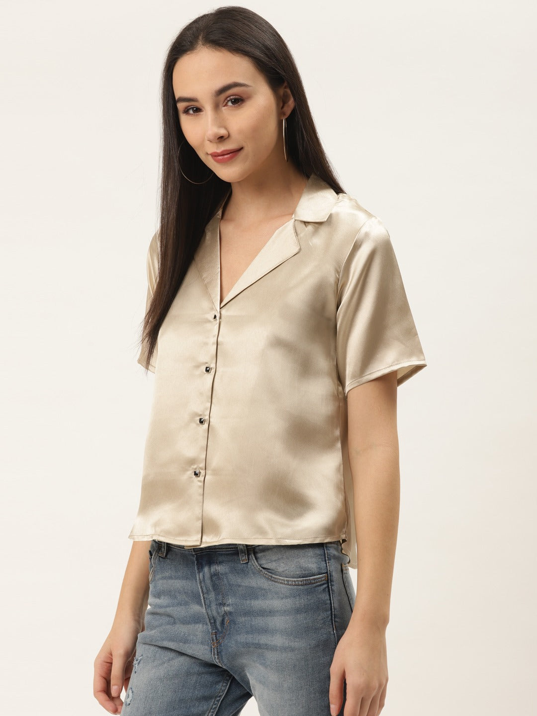 Satin Notch Collar Shirt