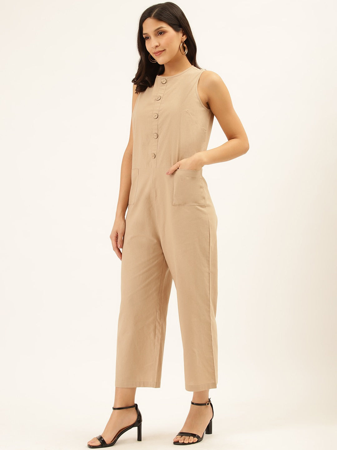 Front Button Beige Boiler Suit