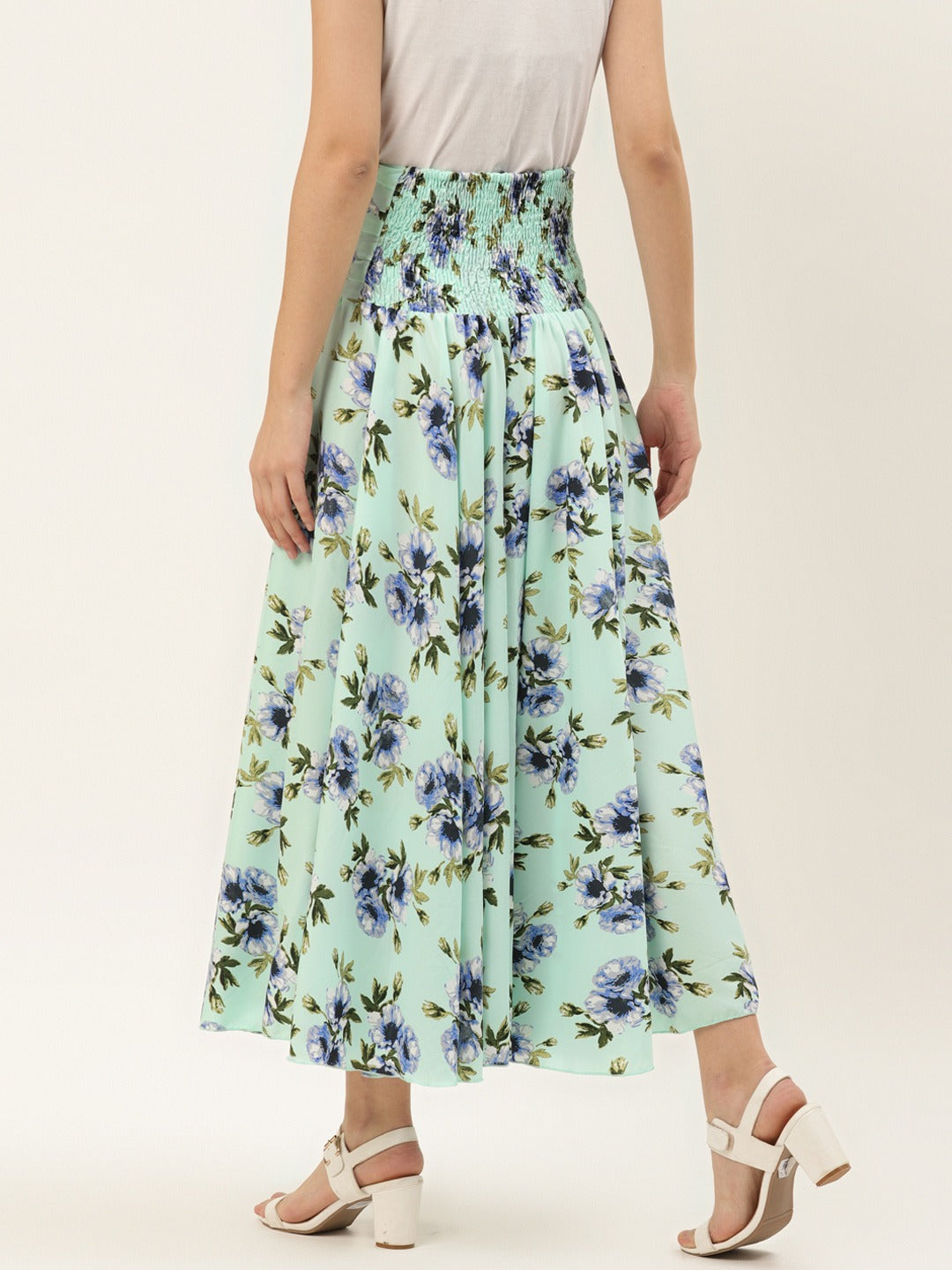 Blue Floral Print Palazzo