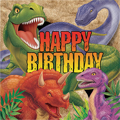 Happy Birthday Dino Blast Napkins 16Pk