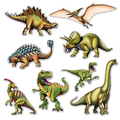 Cardboard cutouts - 8 of your favourite dinosaurs