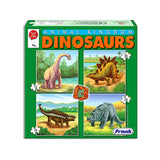 Dinosaur set of 4 puzzles 12 to 24 pieces.