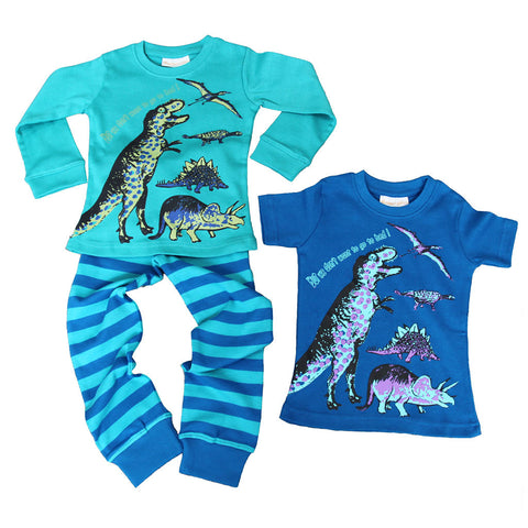 Dinosaur Long Johns and T'Shirt 3pc PJ set - but we don't want to go to bed