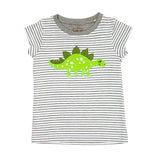 Stegosaurus top with grey stripe & capped sleeve