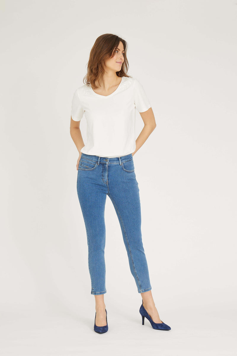 Agatha Slim Crop - Blue Denim