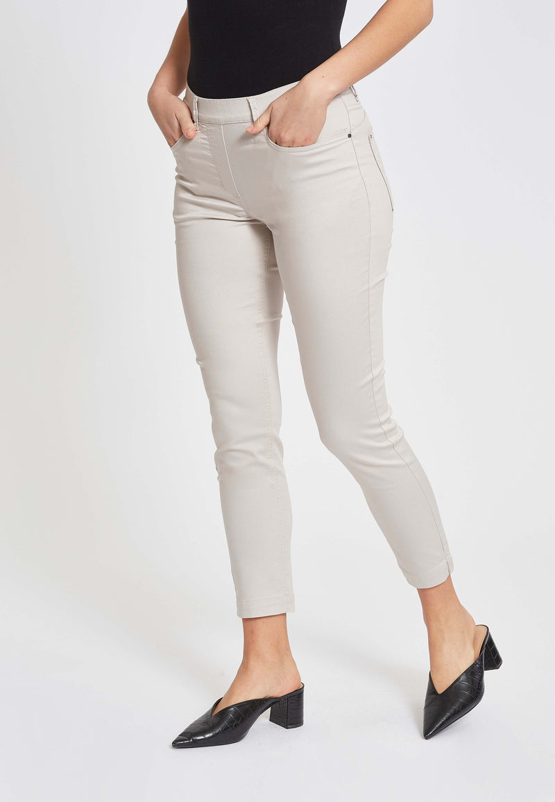 Faith Slim Cropped Housut - Grey Sand