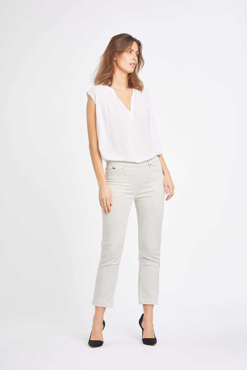 Hannah Regular Crop - Khaki Stripe