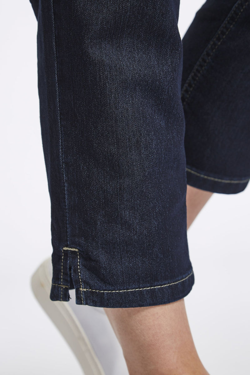 Mia Regular Cropped Jeans - Dark Blue Denim