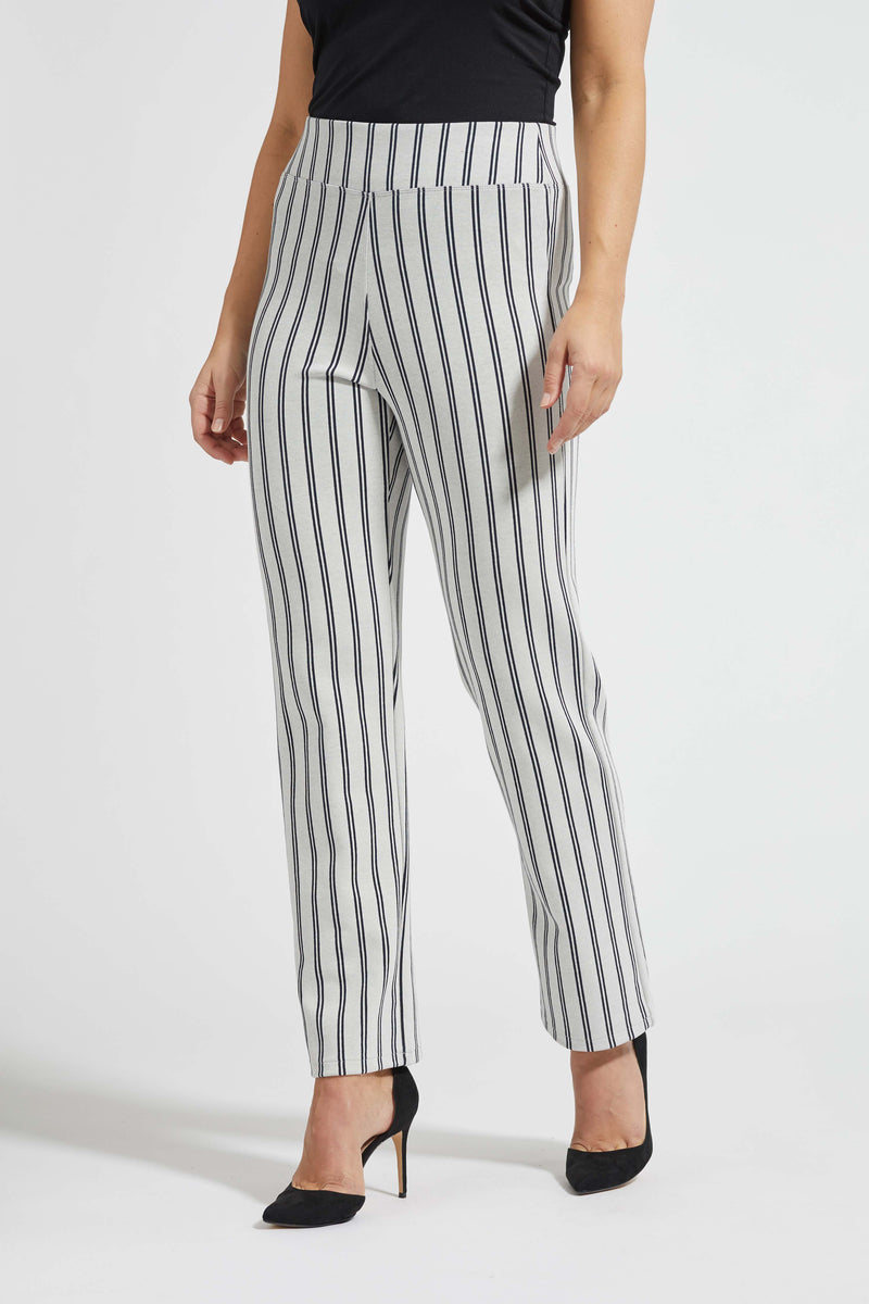 Sarandon Classic Housut - Off White Navy Stripe