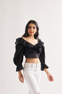 Black Bell top with Piping