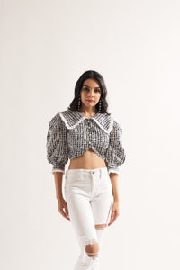 Check Collared Crop Blouse